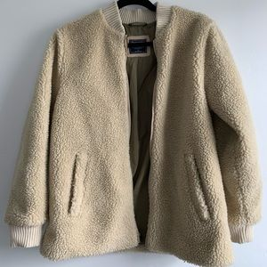 Cream/light camel teddy bear Sherpa coat